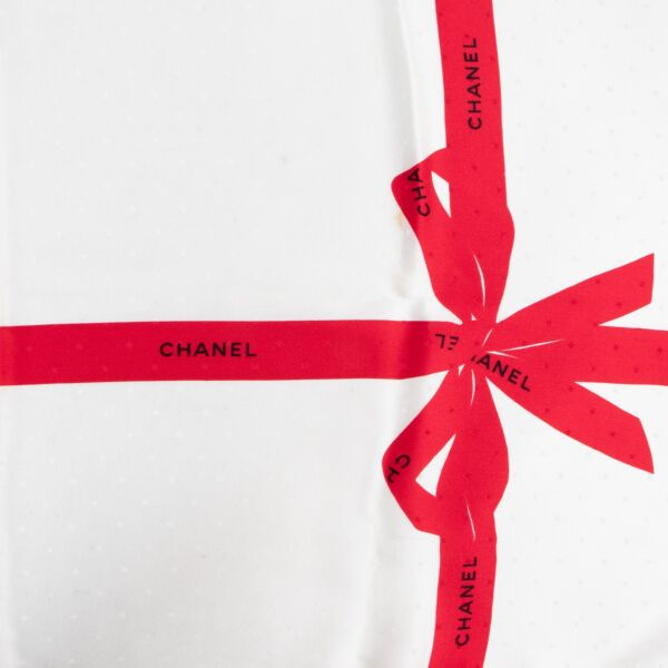 Chanel Red Bows Silk Scarf