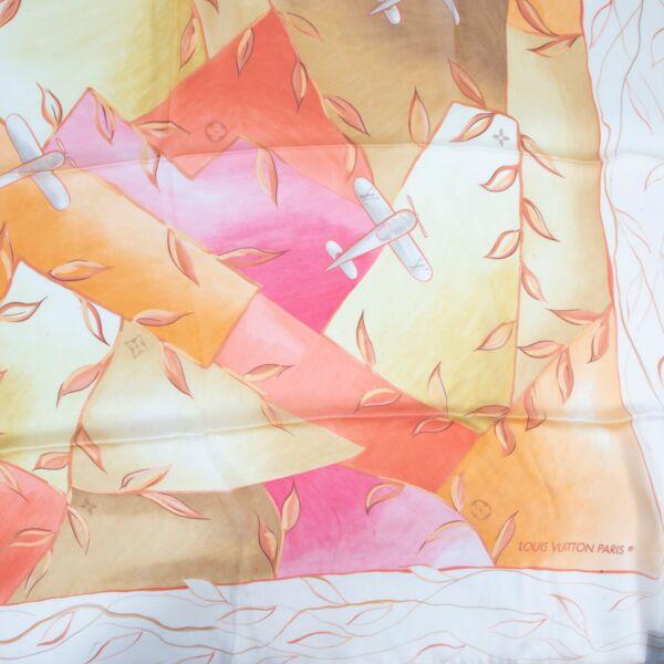 Louis Vuitton Pink Orange Airplane Scarf