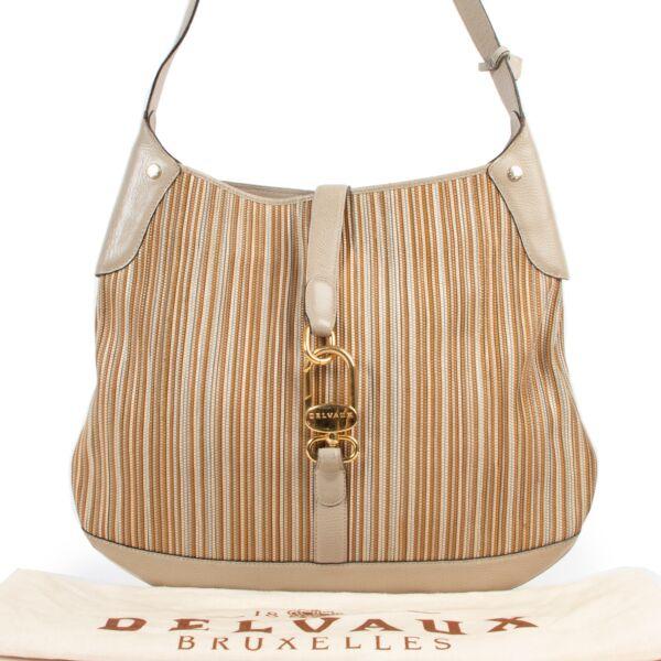 Delvaux Sand Toile De Cuir Shoulder Bag