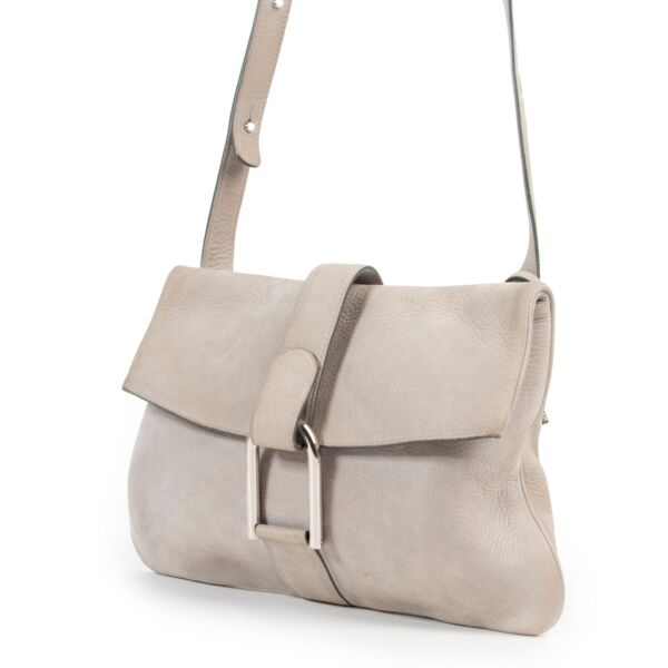 Delvaux Grey Nubuck Givry Crossbody Bag