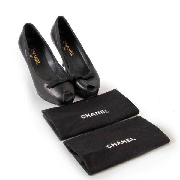 Chanel Black Peeptoe Pumps - size 39