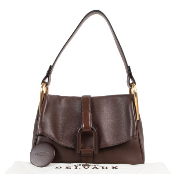 Delvaux Brown Leather Polo Givry Shoulder bag