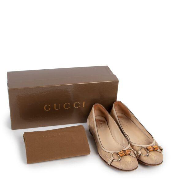 Gucci Monogram Horsebit Bamboo Flats - Size 36,5