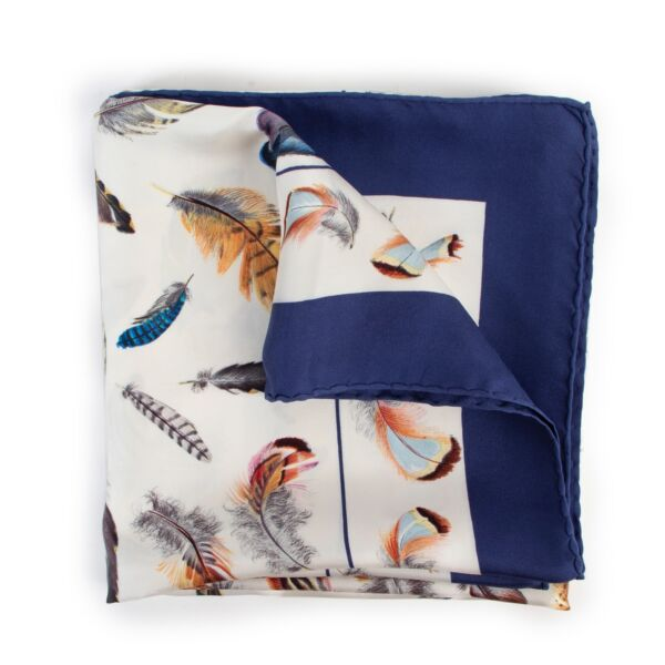 Buy an authentic second hand Hermès Plumes Carré Silk Scarf at Labellov.
