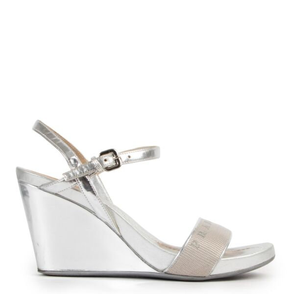 Prada Silver Wedge Heels - Size 37