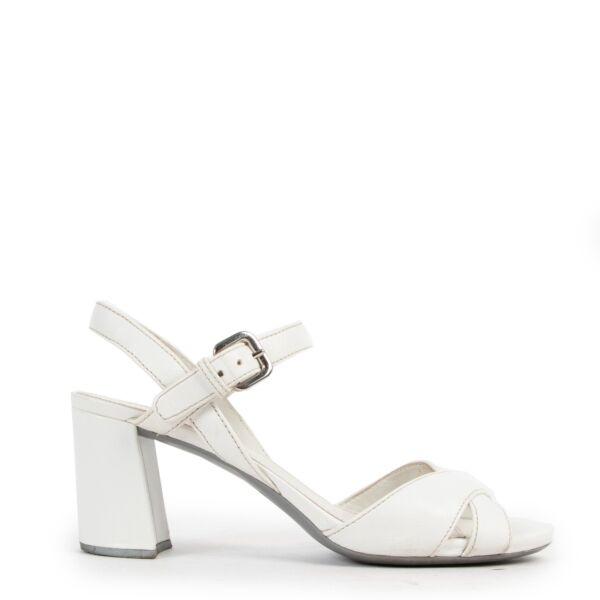 Prada Saffiano 2 Bianco Heels - Size 37