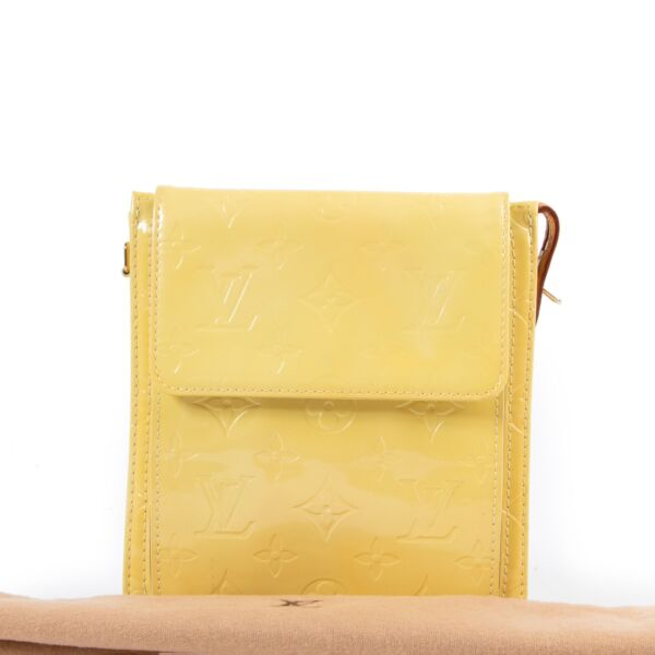 Louis Vuitton Mott Vernis Yellow Clutch Bag