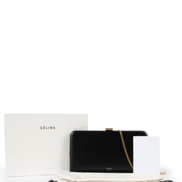 Céline Black Clutch With Gold Chain