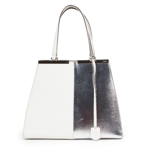 Shop safe online 100% authentic second hand Fendi White Silver 3Jours Shoulder Bag at the right price at Labellov.com.