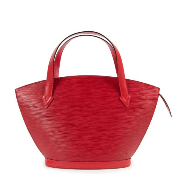 Shop safe online 100% authentic second hand Louis Vuitton Red Epi Leather Saint Jacques Top Handle Bag in very good condition at the right price at Labellov in Antwerp.