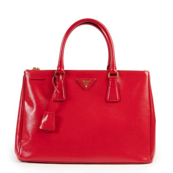 Prada Red Saffiano Patent Leather Galleria Shoulder Bag