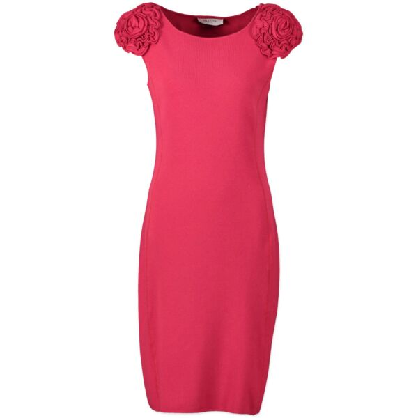 Valentino red floral detail shoulder bodycon dress for the best price at Labellov