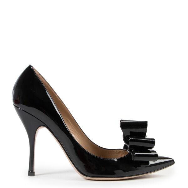 Valentino Triple Bow Vernice Nero Pumps