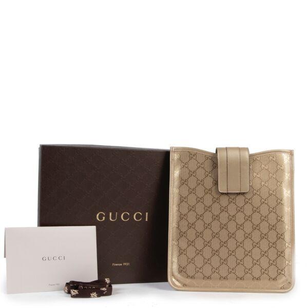 Gucci Gold Monogram Canvas Ipad Case