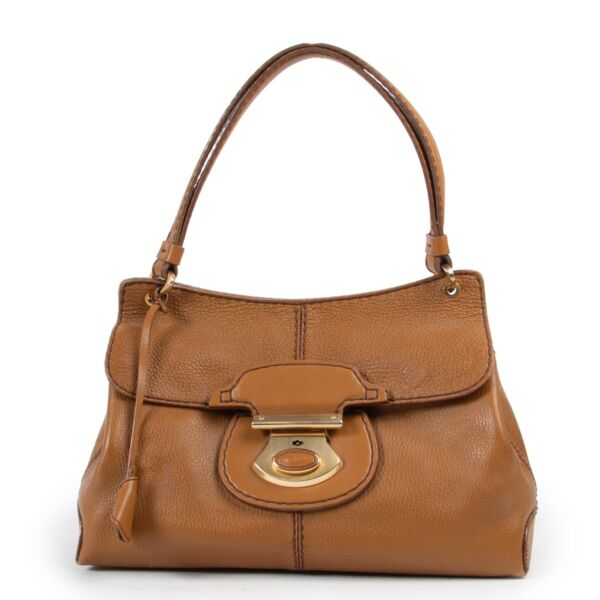 Original Preloved Tods Camel Leather Top Handle in good condition on Labellov Vintage safe site with luxury designer bags