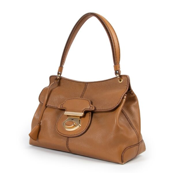 Tods Camel Leather Top Handle Bag