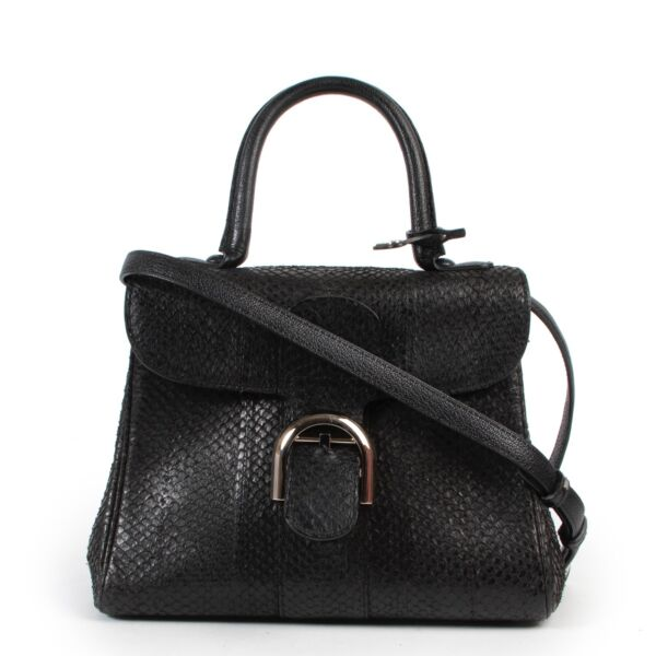 Shop safe online 100% authentic Delvaux Black Python PM Brillant in very good condition at the right price at Labellov in Antwerp.