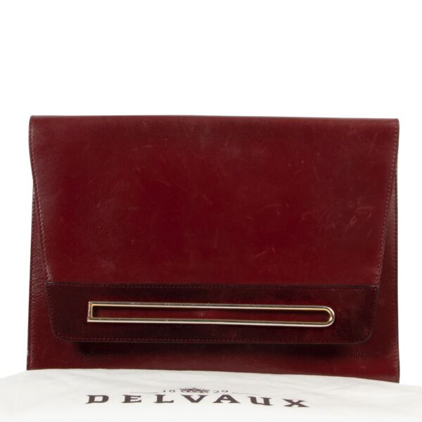 Delvaux Burgundy Leather Clutch