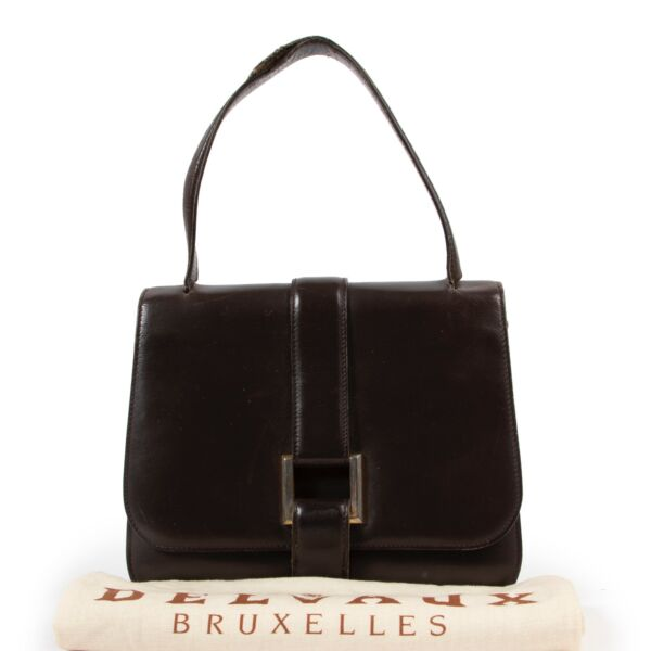 Delvaux Dark Brown Leather Top Handle Bag
