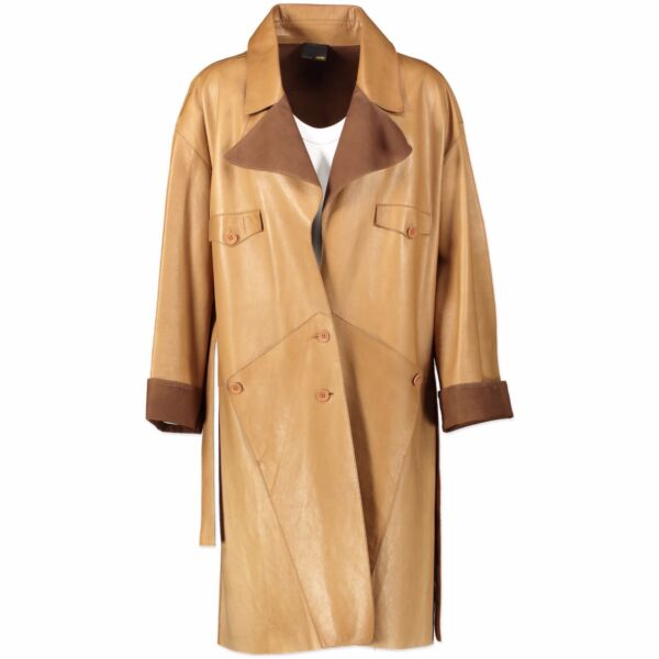 Fendi Camel Calfskin Leather Coat - size 42 (IT)