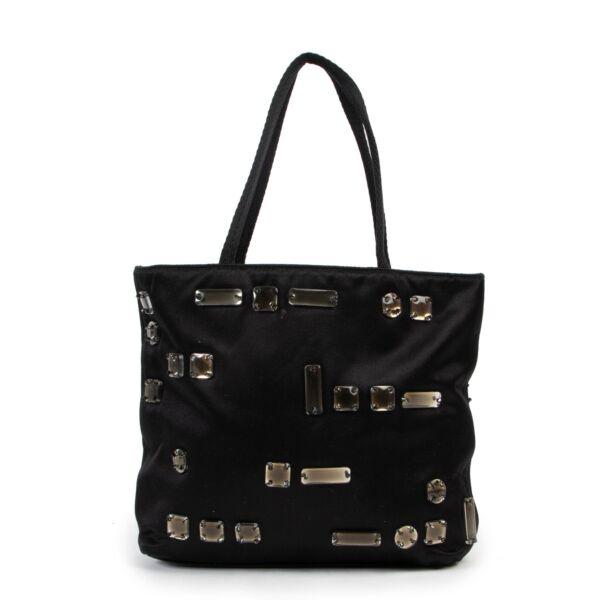 Prada Embellished Satin black Top-handle bag  with diamantes