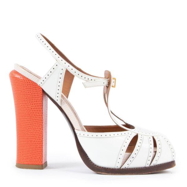 Fendi White Heeled Sandals - size 37.5