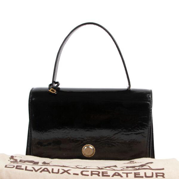 Delvaux Black Patent Leather Top Handle Bag