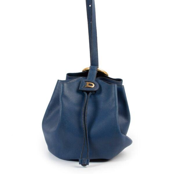 Delvaux Blue Rose des Vents Shoulder Gathered Bucket Bag