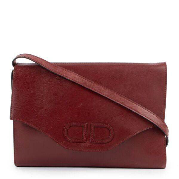 Delvaux Burgundy Shoulder Flap Bag Clutch