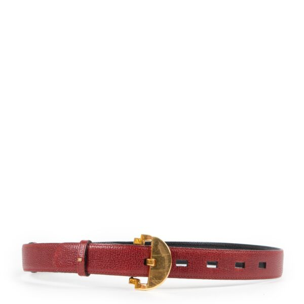 Delvaux Red Leather Belt - Size 75