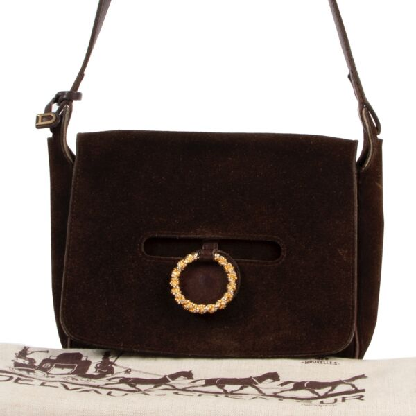 Delvaux Brown Suede Shoulder Bag