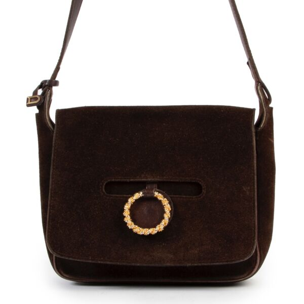 Shop safe online 100% authentic second hand Delvaux Brown Suede Crossbody bag at Labellov in Antwerp.