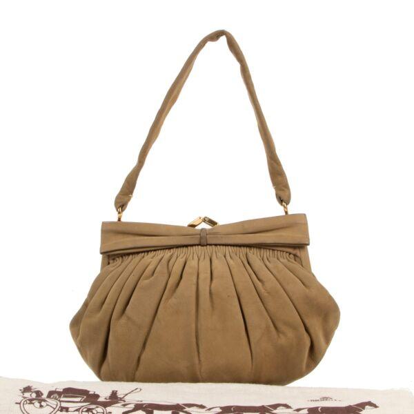 Delvaux Khaki Nubuck Vintage Evening Bag