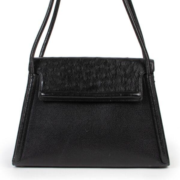 Original vintage Delvaux Black Leather Ostrich Shoulder Bag for sale in good condition on Labellov vintage site with good price