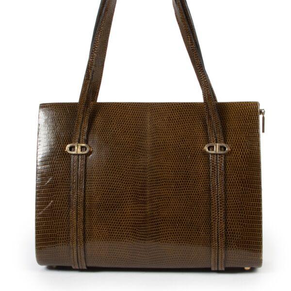 Original vintage Delvaux Green Lizard Shoulder Bag for sale in good condition on Labellov vintage site with good price
