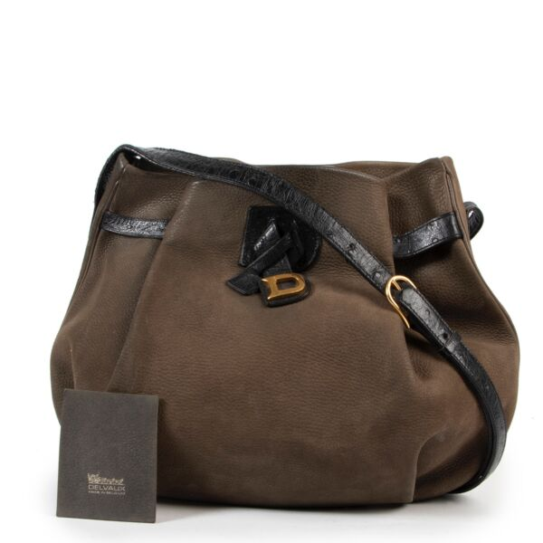 Delvaux Green / Black Nubuck Crossbody Bag
