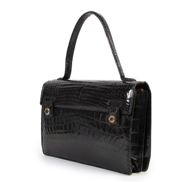 Delvaux Black Croco Vintage Top Handle Bag