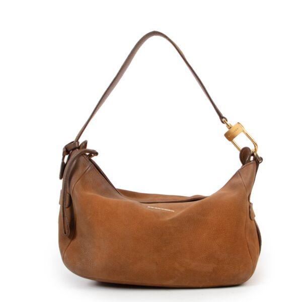 2nd hand Luxury vintage Delvaux Cognac Top Handle Nubuck designer bag now for sale online by Labellov