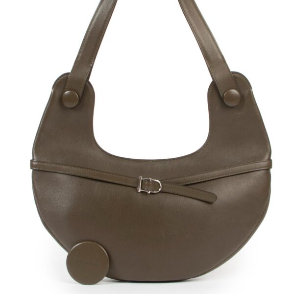 Delvaux Olive Green Leather Top Handle Bag