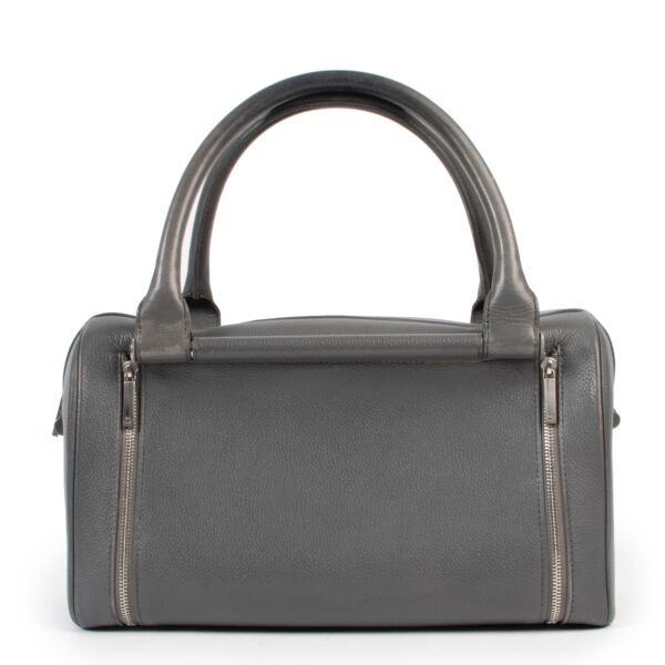Delvaux Top Handle Astrid Grey Boston bag for sale online in good condition on Labellov Luxury vintage site for 2nd hand designer bags