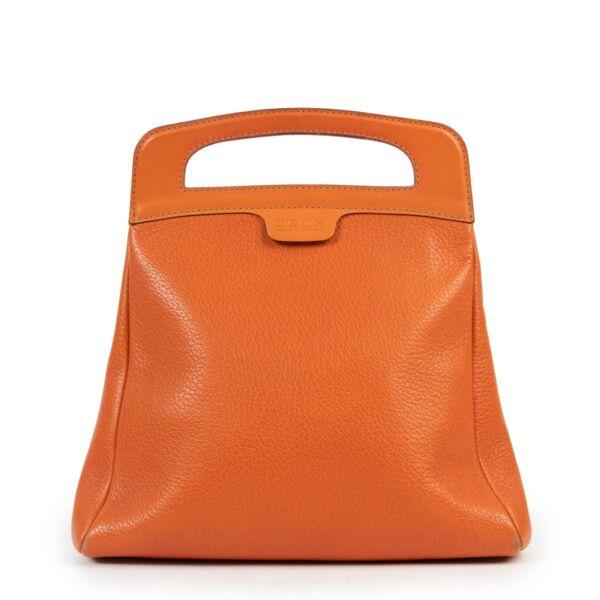 Original vintage Delvaux Orange Top Handle Deux online for sale with good price on Labellov 2nd Luxury designer bags