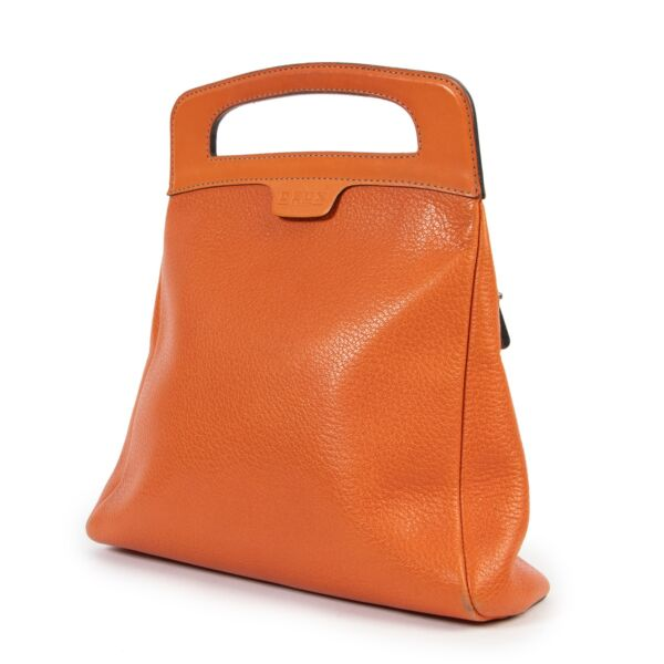 Deux De Delvaux Orange Top Handle Bag