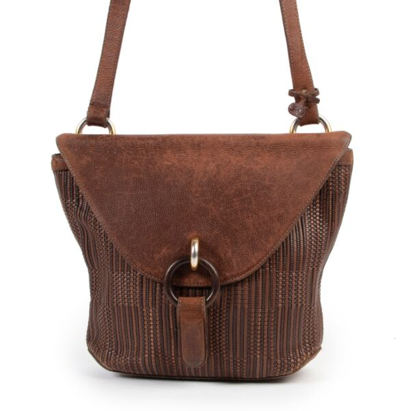 Shop safe online 100% authentic second hand Delvaux Brown Toile De Cuir Crossbody Bag at Labellov in Antwerp.