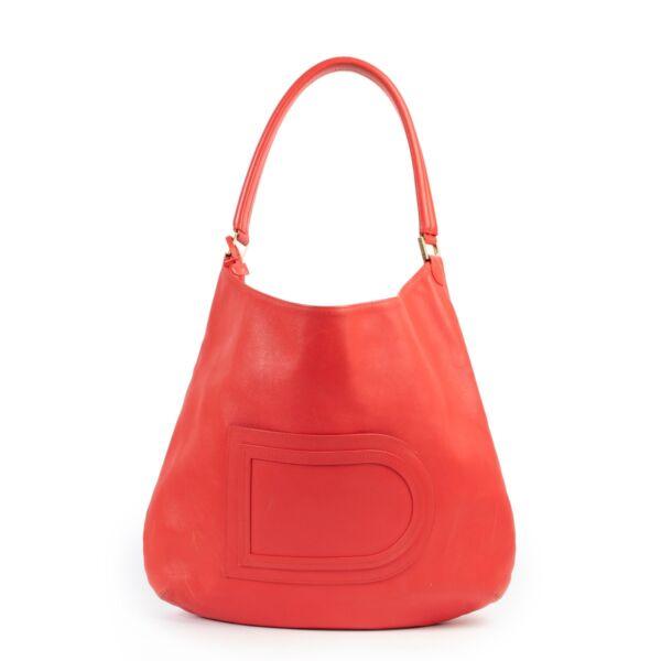 shop safe online secondhand luxury red Delvaux le Louise shoulderbag