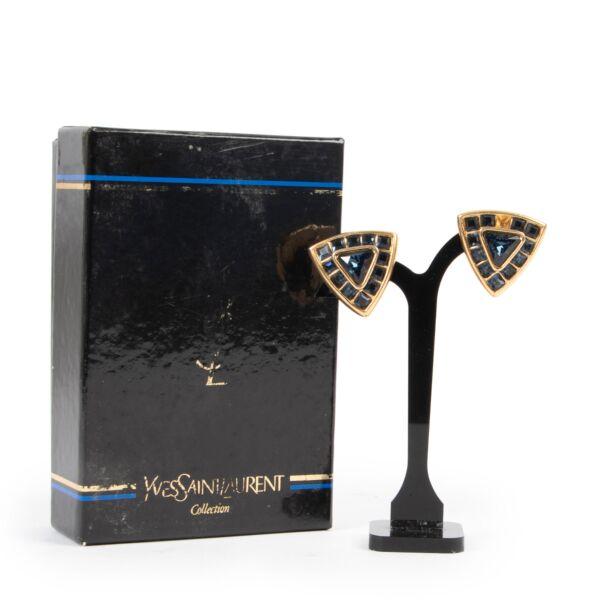 Saint Laurent Blue & Gold Triangle Earrings