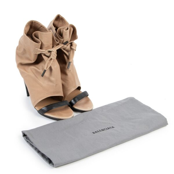 Balenciaga Beige Peeptoe Boots - Size 38,5