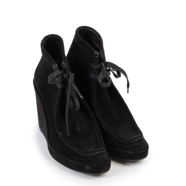 Balenciaga Black Suede Wedge Heel Boots - Size 39,5