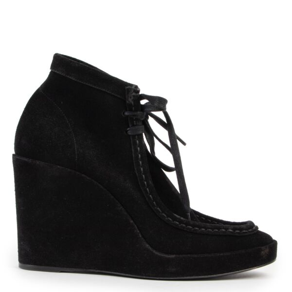 Shop safe online at Labellov in Antwerp this 100% authentic second hand Balenciaga Black Suede Wedge Heel Boots - Size 39,5