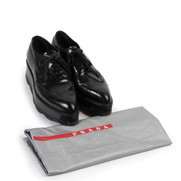 Prada Black Platform Brogues - Size 40