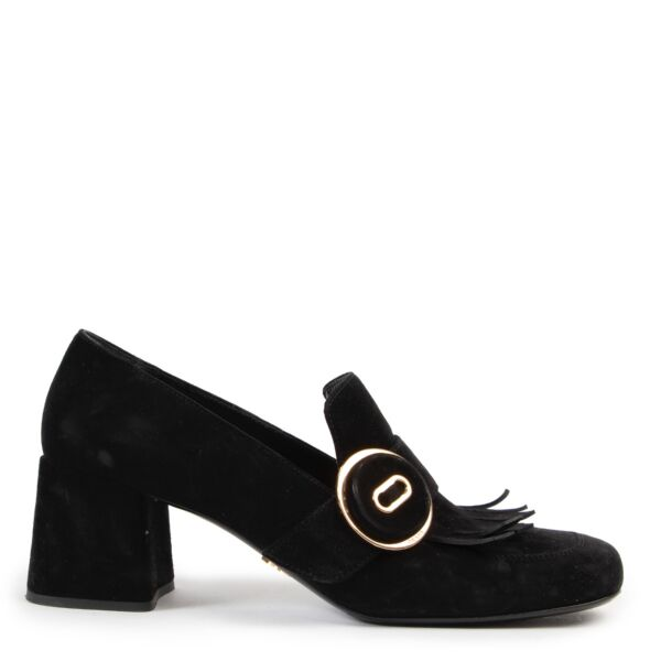 Shop safe online at Labellov in Antwerp these 100% authentic second hand Prada Black Suede Pumps - Size 40